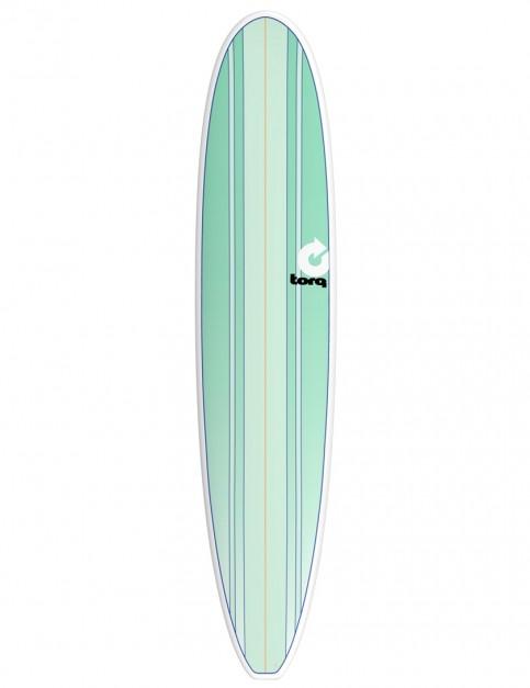 Torq Longboard Surfboard 9ft 0 - Sea Green Stripes/Pinline