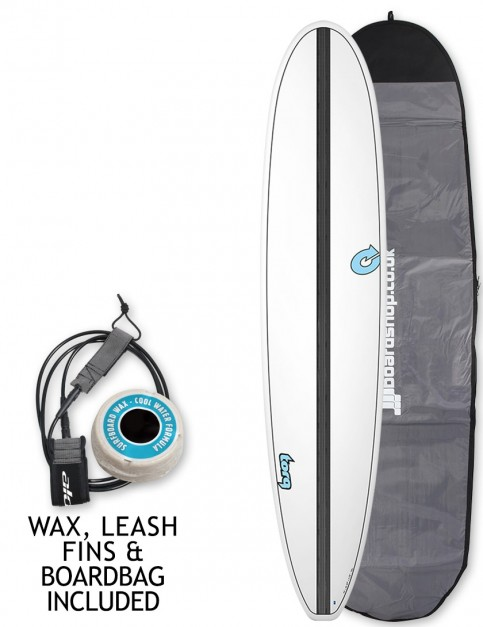 Torq Longboard Surfboard 9ft 0 package - White/Carbon Strip