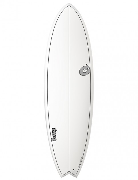 Torq Mod Fish surfboard 5ft 11 - White/Carbon Strip