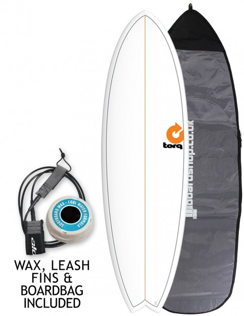 Torq Mod Fish surfboard 5ft 11 package - White/Pinline