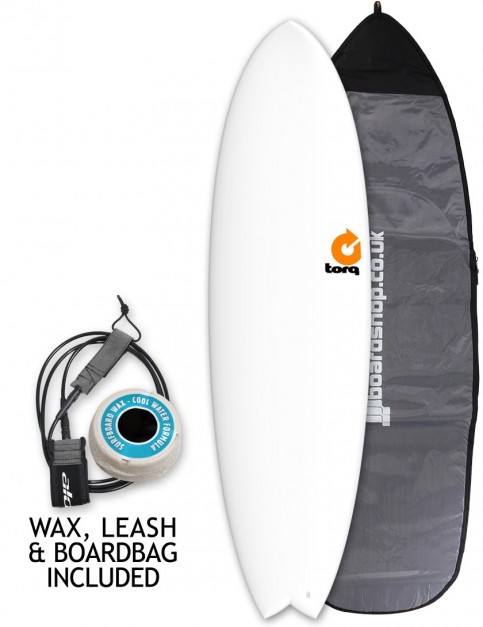 Torq Mod Fish Surfboard 6ft 3 Package - Matte White