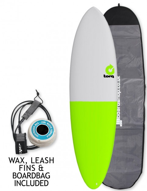 Torq Mod Fun surfboard 6ft 8 package - Grey/Green Tail