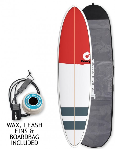 Torq Mod Fun surfboard 7ft 2 package - Red Nose/Stripes