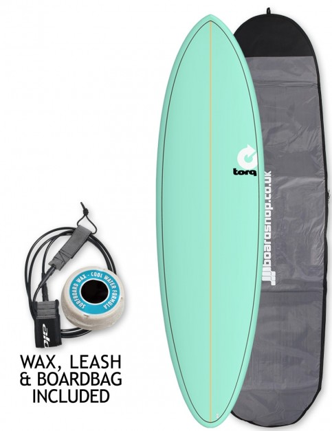 Torq Mod Fun surfboard package 6ft 8 - Sea Green/Pinline