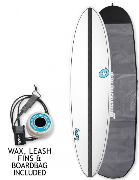 Torq Mod Fun surfboard 7ft 2 package - White/Carbon Strip