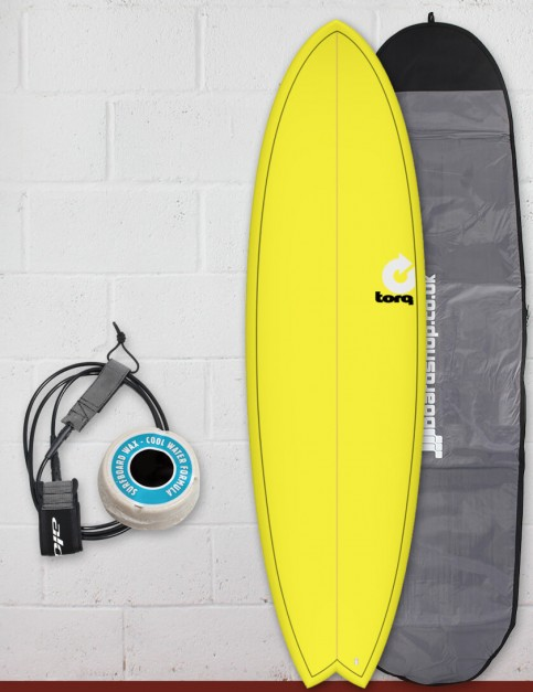 Torq Mod Fish surfboard package 6ft 6 - Yellow Fade