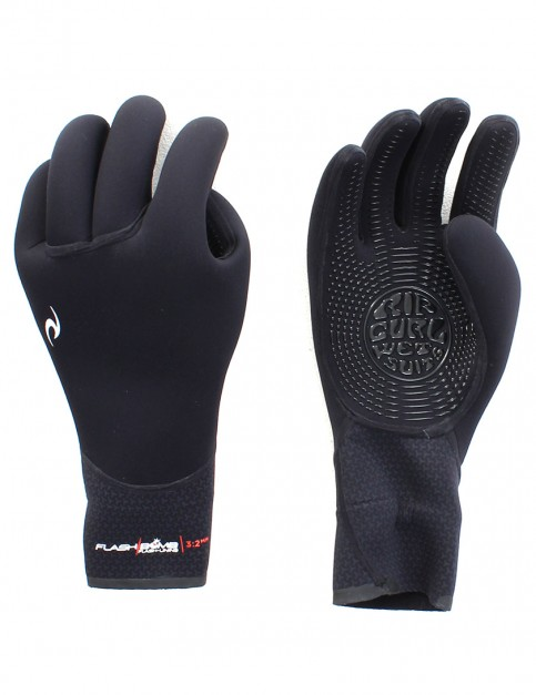 Rip Curl Flash Bomb 5 Finger 3/2mm Wetsuit Gloves - Black