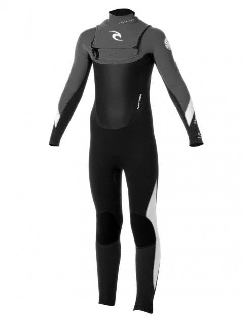 Rip Curl Boys Dawn Patrol Chest Zip 3/2mm Wetsuit - Black/Charcoal