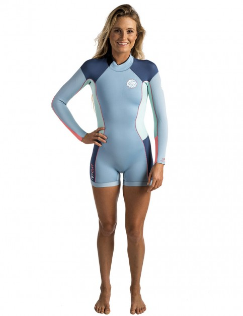 Rip Curl Ladies Dawn Patrol Long Sleeve Shorty 2/2mm Wetsuit 2017 - Blue Ice