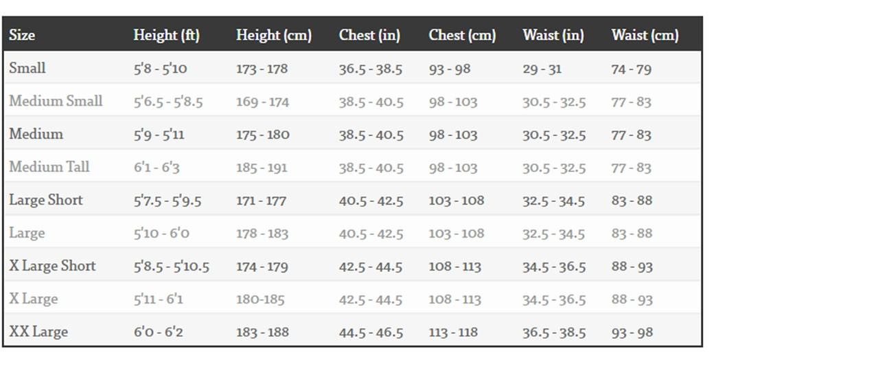 Billabong Mens Wetsuit Size Guide